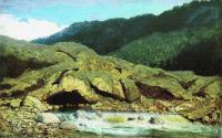 Пейзаж со скалой и ручьем