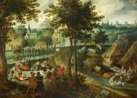 Пейзаж с пикником и купанием овец