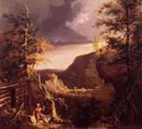 Даниел Буун, сидящий на пороге своей хижины на озере Грейт Оседж