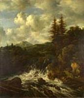 Пейзаж с водопадом и замок на холме