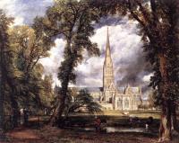 Вид на Собор в Солсбери из епископского сада, 1823