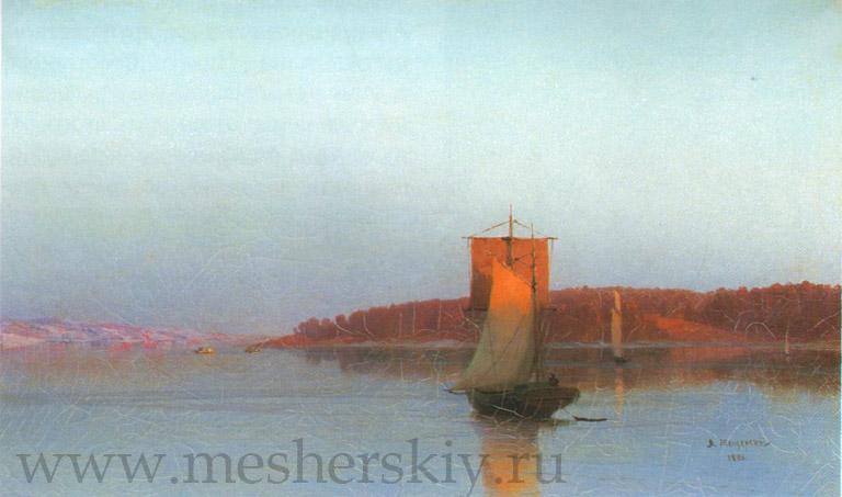 Парусное судно при солнечном закате