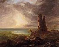 Романтический пейзаж с разрушенной башней