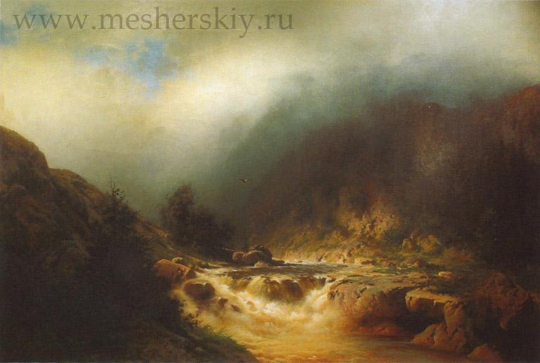 Река в горах Швейцарии 1870-е