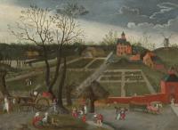 Пейзаж с крестьянами, идущими вдоль дороги, с повозками, запряженными лошадьми