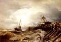 Рыбацкая лодка в шторм у пристани