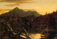 Вид на горную вершину Копвей в осенних сумерках (гора Чокоруа, Нью-Хэмпшир)