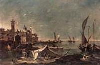 Пейзаж с палаткой рыбаков