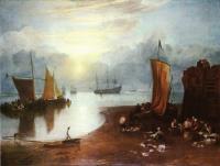 Восходящее солнце в дымке, Рыбаки, чистящие и продающие рыбу
