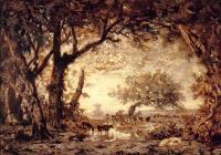 Кромка леса в Фонтенбло, заходящее солнце