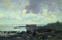 Берег Ладожского озера. Облачный день.