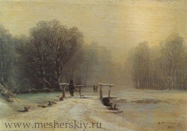 Зимний пейзаж с мостиком (Мещерский А.И.)