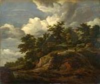 Скалистый холм с тремя коттеджами возле ручья