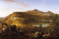 Вид на два озера и дом в горах, горы Кэтскилл, утро