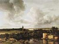 Пейзаж с руинами замка и церковью