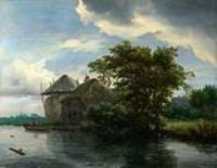 Коттедж и стог сена возле реке