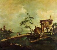 Каприччо. Руины церкви, сельский дом и фигуры на берегу протока лагуны