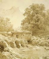 Водяная мельница на горной речке.