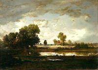 Озеро под грозовым небом