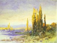 Тополя на берегу озера в Ломбардии. Вечер