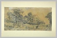 Повозка с вязанками дров на краю леса