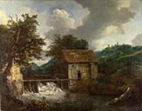 Две водяные мельницы и открытый шлюз у замка
