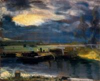 Лодки на реке Стоур, на заднем плане церковь в Дедхэме